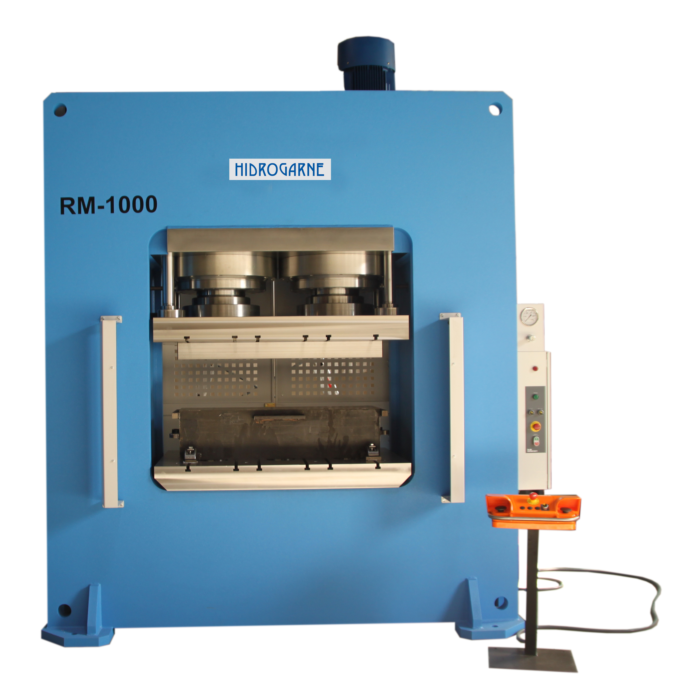 Motorized hydraulic presses with a solid-arch monoblock: R series RM 1000- E