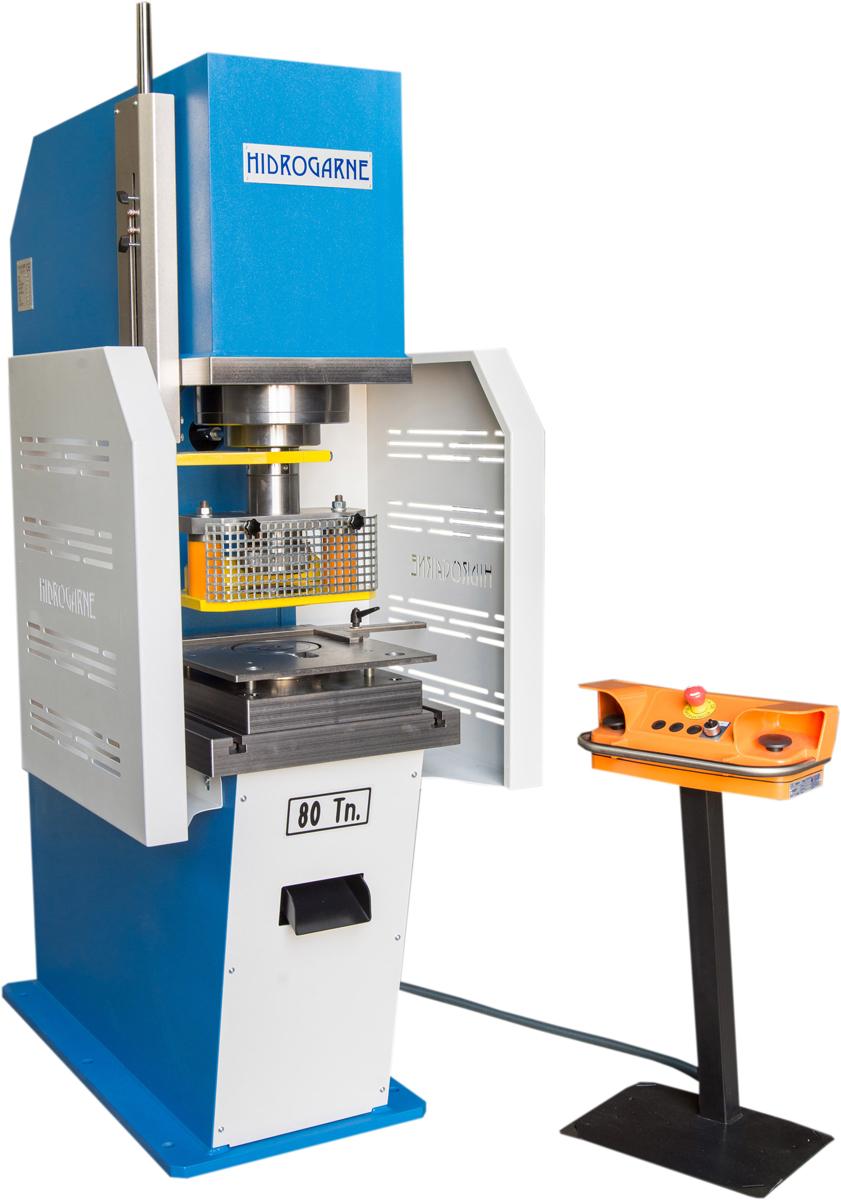 Prensa hidráulica HIDROGARNE CD-80 con equipo de punzonado