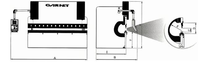 Crokis Plegadora hidráulica - Modelo EPR CNC