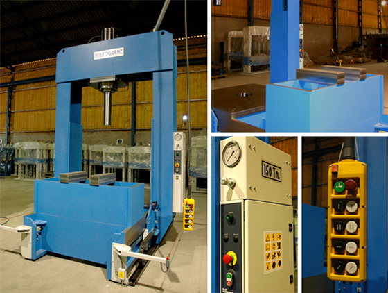 Motorized hydraulic press with sliding frame and moveable head HIDROGARNE model TL-150 optimized