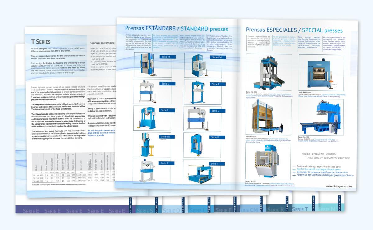 Nuevos catálogos de nuestras prensas hidráulicas HIDROGARNE